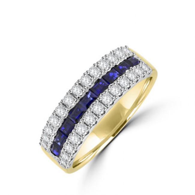 18ct Gold Three-row Sapphire & Diamond Eternity Ring