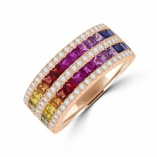 18ct Rose Gold 5-Row Rainbow Sapphire & Diamond Eternity Ring