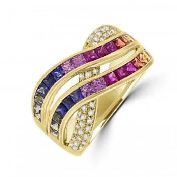18ct Gold 2-Row Rainbow Sapphire & Diamond Crossover Ring