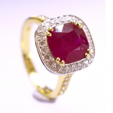 18ct Gold Ruby Cushion Diamond Halo Ring