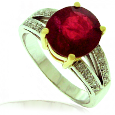 18ct White Gold Ruby Solitaire Ring with split Diamond shoulder