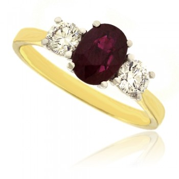 18ct Gold 3-stone Oval Ruby & Diamond Ring