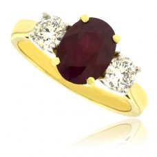 18ct 3-stone Ruby & Diamond Ring