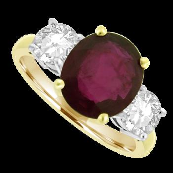 18ct Gold Three-stone 2.24ct Ruby & Diamond Ring