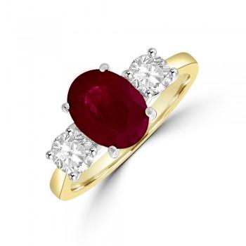 18ct Gold Three-stone Oval Ruby & Diamond Ring