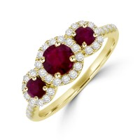 18ct Gold Triple Cluster Ruby Diamond Halo Ring