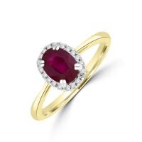 18ct Gold Ruby & Diamond Halo Ring