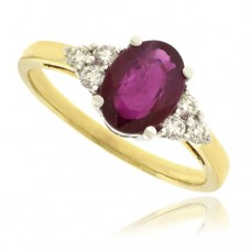 18ct Gold Ruby & 6-stone Diamond Ring
