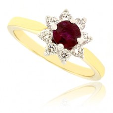 18ct Gold 9-stone Ruby & Diamond Cluster Ring