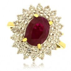 18ct Gold Ruby & Double Diamond Halo Cluster Ring