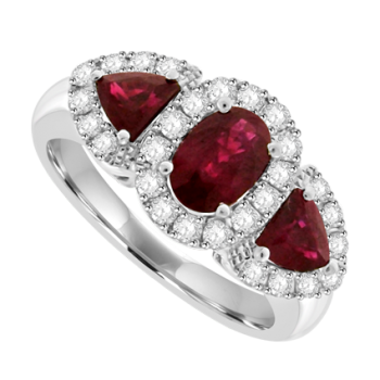 18ct White Gold 3-Stone Ruby & Pave Diamond Cluster Ring