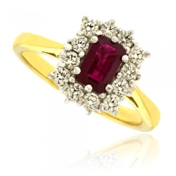 18ct Gold Emerald cut Ruby & Diamond Cluster Ring