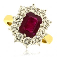 18ct Gold 11-stone Emerald cut Ruby & Diamond Cluster Ring