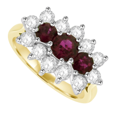 18ct Gold 15-stone Ruby & Diamond Cluster Ring
