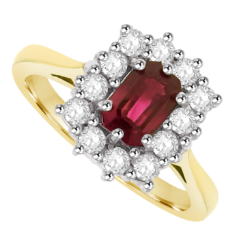 18ct Gold 13-Stone Ruby & Diamond Cluster Ring