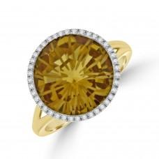 18ct Gold Citrine & Diamond Halo Ring