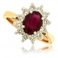 18ct Gold Oval Ruby & Diamond Cluster Ring