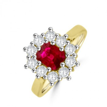 18ct Gold Ruby & Diamond Emerald cut Cluster Ring