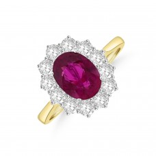 18ct Gold 2.39ct Ruby & Diamond Oval Cluster Ring