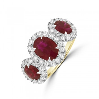 18ct Gold & Platinum Three-stone Ruby Diamond Halo Ring
