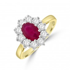 18ct Gold 1.08ct Ruby and Diamond Oval Cluster Ring