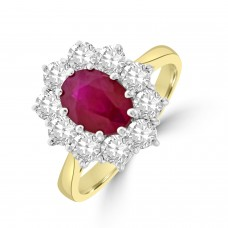 18ct Gold 1.74ct Ruby and Diamond Oval Cluster Ring