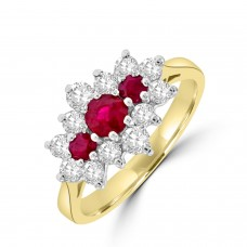 18ct Gold Ruby & Diamond Tri-cluster Ring