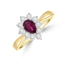 18ct Gold Ruby & Diamond Pear Cluster Ring