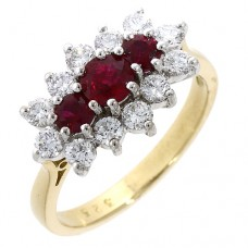 18ct Gold Ruby & Diamond Triple Cluster Ring