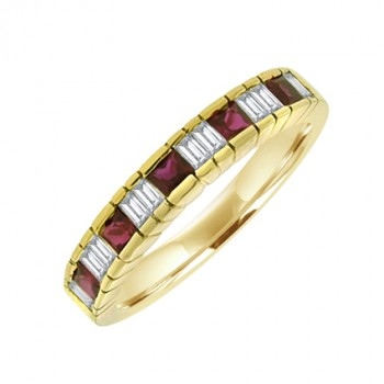 18ct Gold Princess cut Ruby & Diamond Baguette Eternity Ring