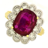 18ct Gold Radiant cut Ruby & Diamond Cluster Ring