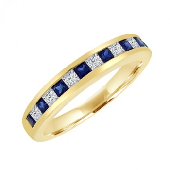18ct Gold Sapphire & Diamond Princess cut Eternity Ring