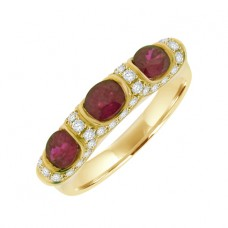 18ct Gold Three-stone Ruby & Pave Diamond Ring