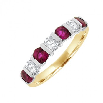 18ct Gold 7-stone Ruby & Diamond Bar Set Eternity Ring