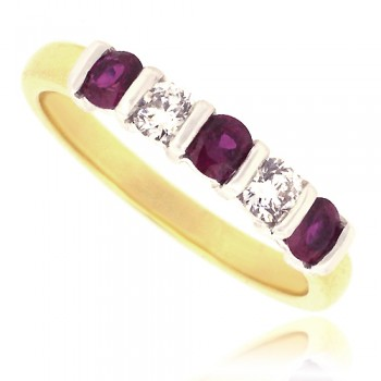 18ct Gold 5-Stone Ruby & Diamond Bar Set Eternity Ring