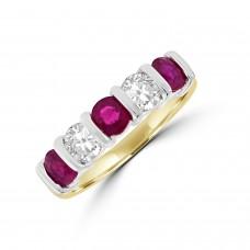 18ct Gold Ruby & Diamond Bar set Eternity Ring