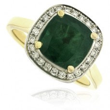 18ct Gold Cushion Emerald & Diamond Halo Ring