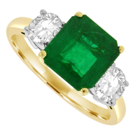 18ct Gold 3-Stone Emerald & Diamond Ring