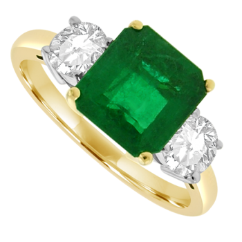 18ct Gold 3-Stone Emerald & Diamond Ring
