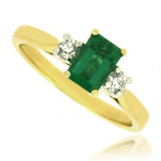 18ct Gold Three-Stone Emerald & Diamond Ring