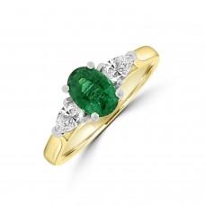 18ct Gold Oval Emerald & Pear Diamond Three-stone Ring