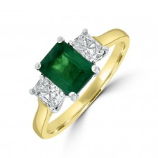 18ct Gold Three-stone .96ct Emerald and Radiant Diamond Ring
