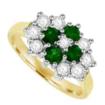 18ct Gold 13-stone Emerald & Diamond Cluster Ring