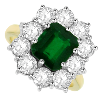 18ct Gold 11-Stone Emerald & Diamond Cluster Ring