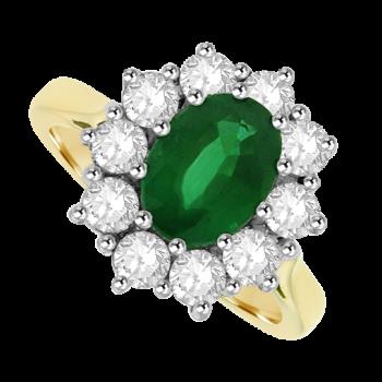 18ct Gold 11-Stone Emerald & Diamond Cluster Ring