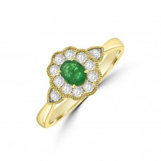 18ct Gold Emerald & Diamond Oval Vintage Cluster Ring