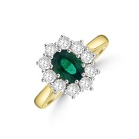 18ct Gold .70ct Emerald and Diamond Oval Cluster Ring