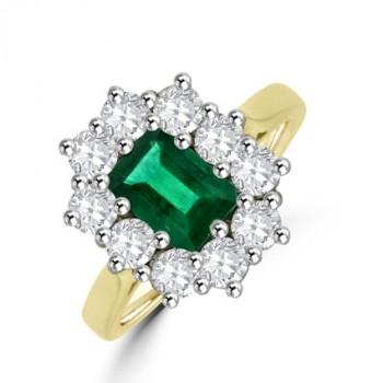 18ct Gold Emerald cut Emerald & Diamond Cluster Ring