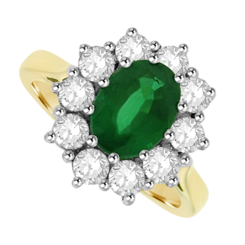 18ct Gold 1.41ct Emerald & Diamond Oval Cluster Ring