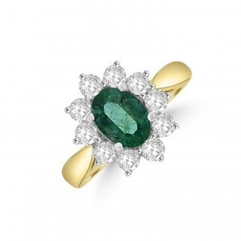 18ct Gold 1.15ct Emerald & Diamond Oval Cluster Ring